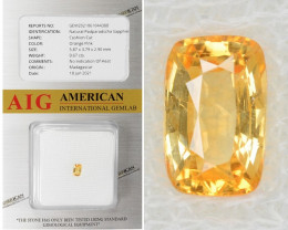 Padparadscha Sapphire 0.67 Cts AIG Certified Unheated Natural Orange Pink