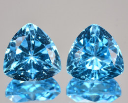 6.58 Cts Natural Baby Blue Topaz 9mm Trillion Cut Pair USA