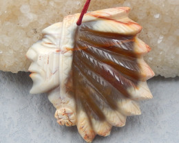 D2224 - 103.5cts Natural Agate handmade Carving Indian Pendant Bead,Designe