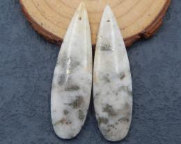D2226 - 54.5cts natural pyrite carved leaf earring pair,handmade gemstones,