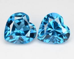 Topaz 3.10 Cts 2Pcs London Blue Natural Gemstones