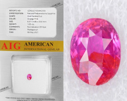 Padparadscha Sapphire 1.05 Cts AIG Certified Orange Pink Natural Gemstone