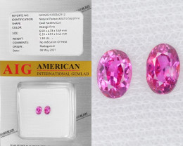 Padparadscha Sapphire 1.84 Cts AIG Certified Orange Pink Natural Pair