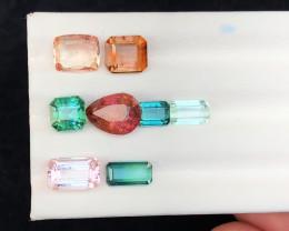 10.35 Ct Natural Multi Colors Transparent Tourmaline Gemstones Parcels