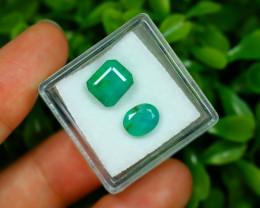 Zambian Emerald 3.88Ct 2Pcs Natural Green Color Emerald Box JR79