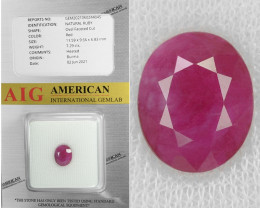 Burma Ruby 7.29 Cts Red Natural Gemstone