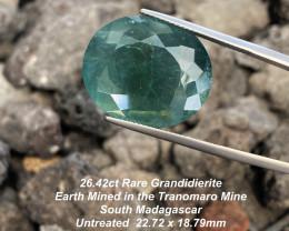26.42ct Rare Grandidierite - Tranomaro South Madagascar / 22.72 x 18.79mm