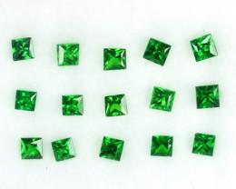 0.88 Cts Natural Top Green Tsavorite Garnet  Square Princess Parcel Kenya