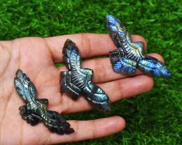 Genuine 160.00 Cts Blue & Green Flash Labradorite Eagle Set