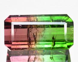6.72 Cts Natural Bi-Color Tourmaline Long Octagon Cut Mozambique