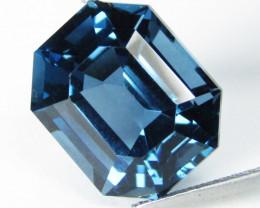 8.57Cts Sparkling Natural London Blue Topaz Emerald Cut Loose Gem VIDEO