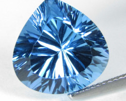 9.39Cts Sparkling Natural Baby Swiss Blue Topaz Heart Concave Cut Loose Gem