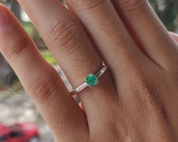 Colombian Muzo emerald sterling silver ring 11.86 ct