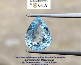 3.00ct  GIA Paraiba Tourmaline - 11.5x5mm / GIA Certified