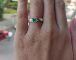 Colombian emerald Muzo sterling silver ring  16.86 ct