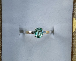 untreated Certified Colombian emerald Muzo sterling silver ring 7.95 cts