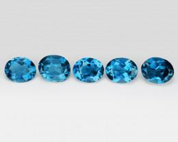 *No Reserve*Topaz 2.25 Cts 5Pcs London Blue Natural Gemstone