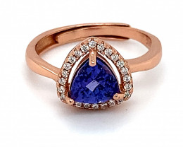 High Grade Tanzanite 1.05ct Rose Gold Finish Solid 925 Sterling Silver Ring