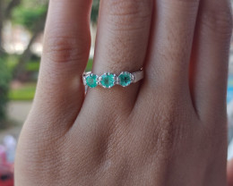 Colombian Muzo Emerald triple sterling silver ring  14 ct