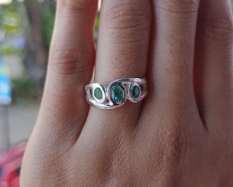 Colombian Chivor Emerald sterling silver ring 21.80 ct