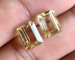 7x9mm Citrine Pair Natural Emerald Cut Faceted Gemstone VA1188