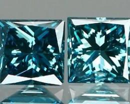 *Bidding Starts $15NR* Vivid Blue Diamond Princess Cut Pair 0.32Ct.