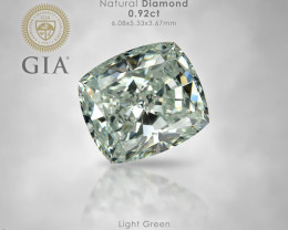 GIA Certified 0.92 Ct. Untreated Natural Light Green Diamond Cushion 6.1x5.