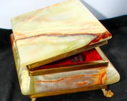 7375 CTs Natural & Unheated~Green Onyx Carvid Jewelry Box Stone Special Sha