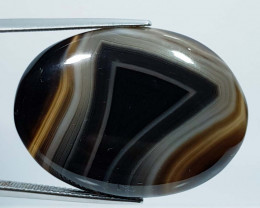 49.39 ct Natural Black Lace Agate Oval Cabochon  Gemstone