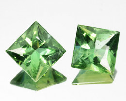 2.40 Cts Natural Green Apatite 6.5mm Square 2Pcs Africa