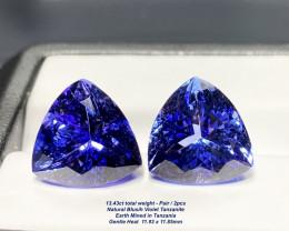 13.43ct tw  Bluish Violet Trillion Tanzanite - Pair/2pcs
