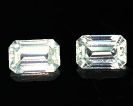 3.24 Cts Natural Sparkling White Zircon 2Pcs Octagon Cut Tanzania