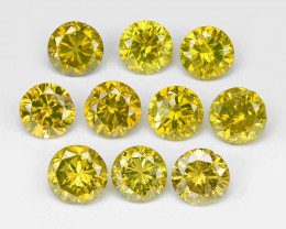 Diamond 0.55 Cts 10Pcs Sparkling Fancy Intense Yellow Natural