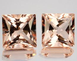 Matching pair 8.66 Cts Natural Peach Pink Morganite Square Princess Cu