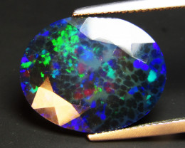 5.22Cts Natural Earth Mined Color Play Black Opal Oval Cut Loose Gemstone R