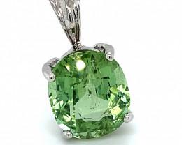 Mint Green Tourmaline 11.80ct Solid 14K White Gold Pendant