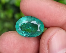 HUGE 7.68 CTS NATURAL STUNNING OVAL MIX CUT GREEN EMERALD FROM ZAMBIA