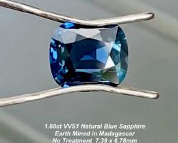 1.60ct VVS1 UNHEATED  Blue Sapphire -  7.39 x 6.78mm / Certified