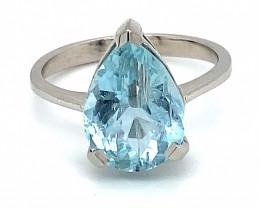 Aquamarine 4.65ct Solid 14K White Gold Ring