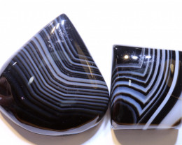 55 CTS BLACK AND WHITE BANDED AGATE PARCEL NP-885 Npgems