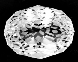 4.56 Cts Dazzling Facet Natural White Topaz Oval Custom Cut Ref VIDEO