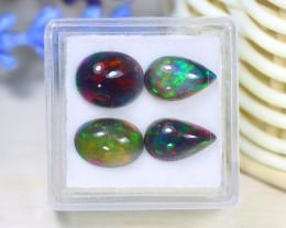 Opal 5.01Ct 4Pcs Natural Bright Color Play Welo Black Smoked Opal C1301