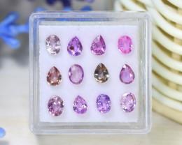 Sapphire 3.18Ct VS2 12Pcs Natural Madagascar Pink Sapphire C1325