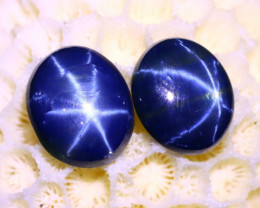 Blue Star Sapphire 8.16Ct 2Pcs Natural 6 Rays Blue Star Sapphire C1326