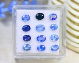 Sapphire 3.61Ct 12Pcs Oval Cut Natural Madagascar Blue Sapphire C1334