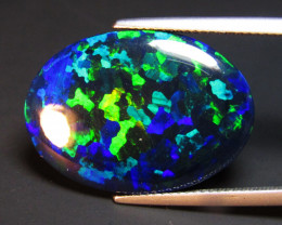 15.27Cts Natural Earth Mined Color Play Black Opal Oval Cabochon Gem VOD