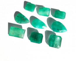 Parcel 9 pcs of Natural Polished Emerald