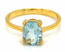 Aquamarine 2.02ct Solid 14K Yellow Gold Ring