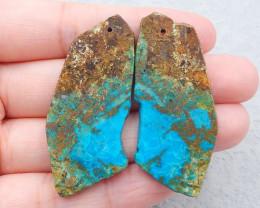 D2359 - 60.5cts Natural chrysocolla gemstone free shape earrings bead pair,