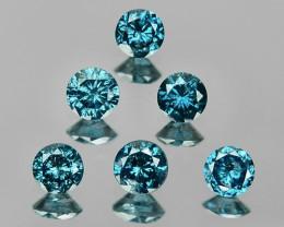 Diamond 0.56 Cts 6Pcs Sparkling Fancy Intense Blue Natural